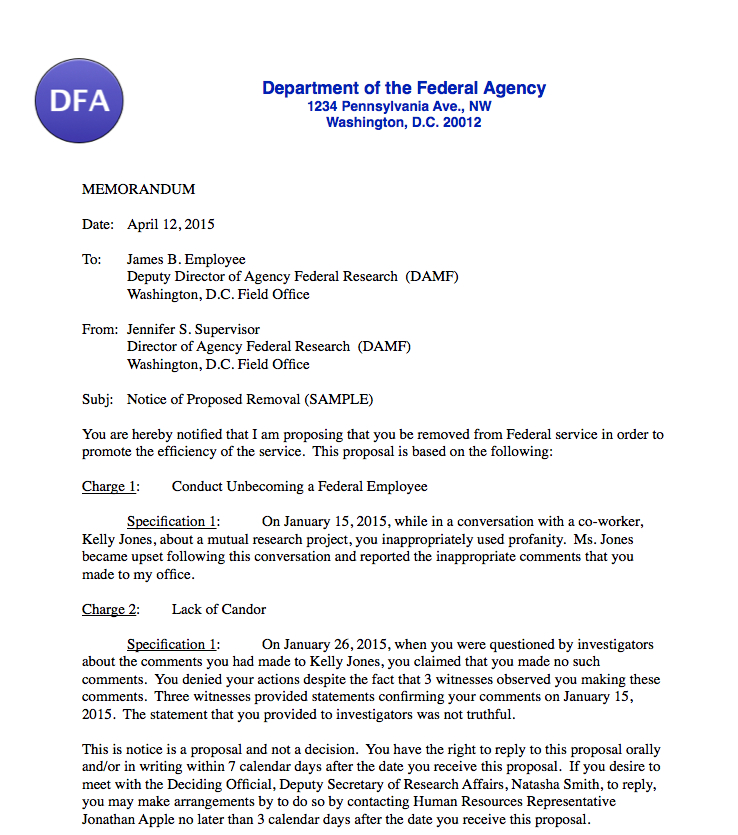 How to write disciplinary letter eczalinf responding to proposed discipline for federal employees federal altavistaventures Image collections